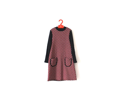 Vintage 1960's Dogtooth Dress in Red and White Girls Childrens 5-6 Years