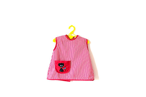 Vintage 1960's Little Mouse Red Striped Dress 12 Months