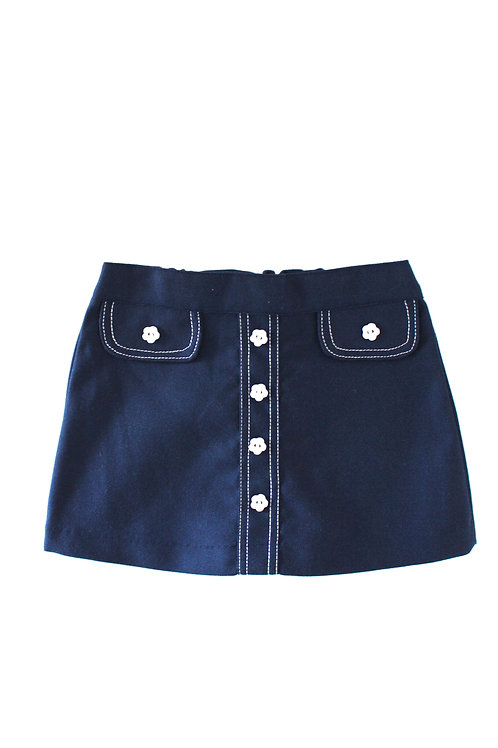 Vintage 1960's Blue Mod Daisy 1-2 Years Skirt Girls Vintage Retro