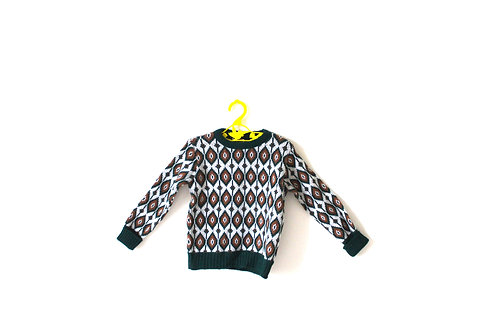 Vintage 1960's Patterned Oval Green Knitted Jumper 2-3 Years