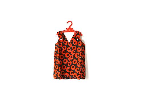 Vintage 1970's Autumn Orange and Brown Girls Dress 1-2 Years