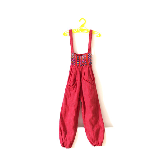 Vintage 1970's Red Pinstripe Embroidery Dungarees 3 Years