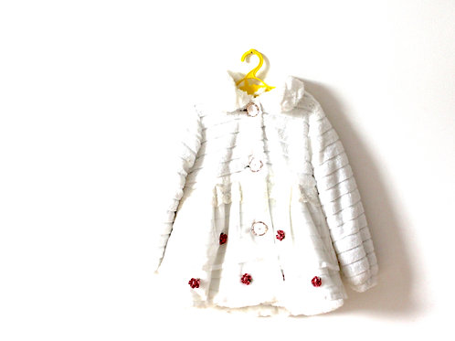Vintage French White Fluffy Ribbed Coat with Flowers 4-5 Years