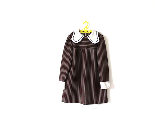 Vintage 1970's Pin Striped Brown Dress 7-8 Years