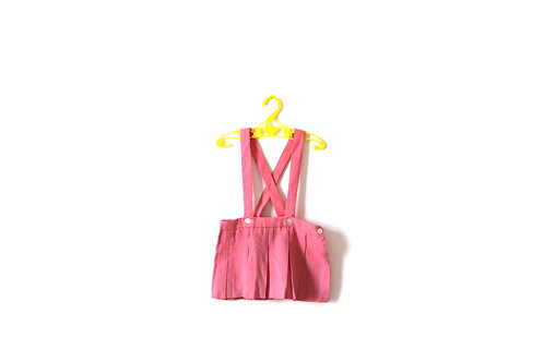 Vintage 1960's Pink Pleated Skirt with Straps 1-2 Years Childrens Girls