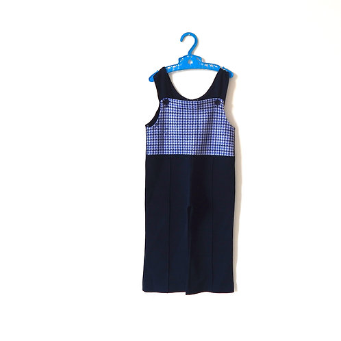 Vintage 60's Navy Dogtooth Dungarees 3-4 Years