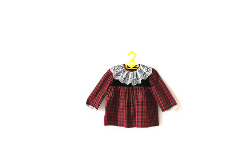 Vintage 1960's Christmas Dress in Tartan Checked 12 Months