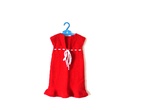 Vintage Knitted Red and White Dress 2-3 Years