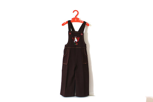 Vintage Horse 70's Brown Horse Dungarees 18 Months