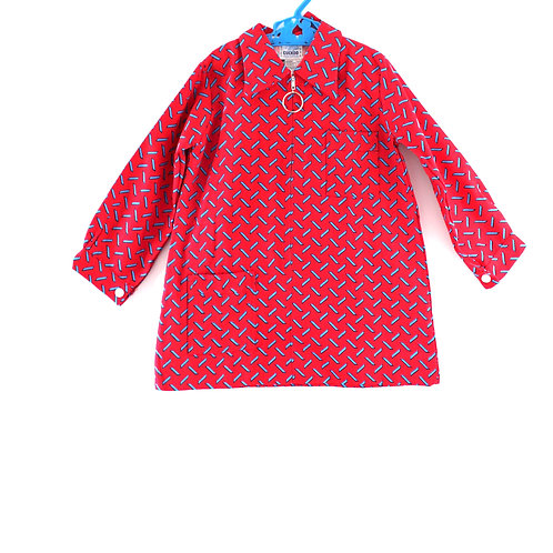 Vintage Girls Red and Navy 3-4 Years 1960's Geometric Patterned Dress
