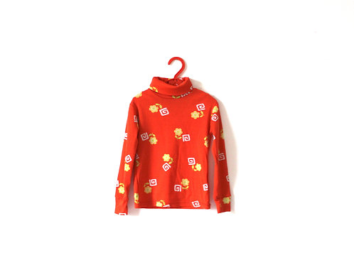 Vintage 1960's Childrens French Orange Patterned Spring Top 2 Years