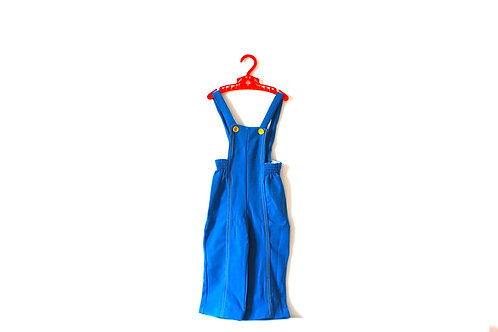 Vintage Bright Blue Dungarees Yellow Buttons 1970's 2-3 Years