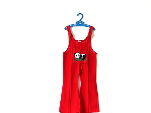 Vintage Red Panda Dungarees 70's 12-18 Months