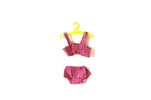 Vintage Pink Green Floral Bathing suit 6-12 Months