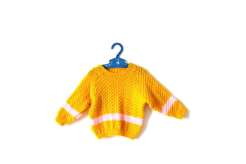 Vintage Yellow and Pink Knitted Jumper 12 Months
