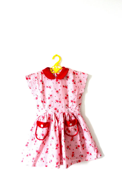 Vintage 1960's Pink Floral Summer Dress Collar 4-5 Years