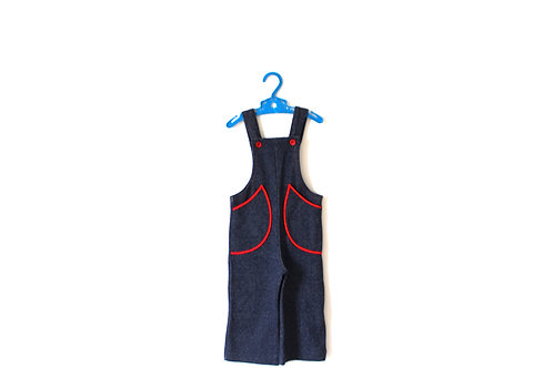 Vintage Red 1970's Retro Blue Dungarees 18 Months