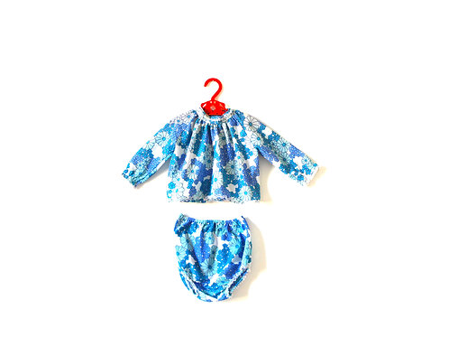 Vintage Blue Floral 60's Two Piece Outfit 2 Years