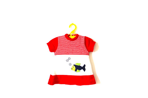 Vintage French Fish Dress Red Stripes 3 Months