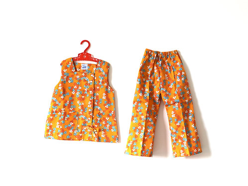 Vintage Girls Floral Orange Two Piece Outfit 2 Years