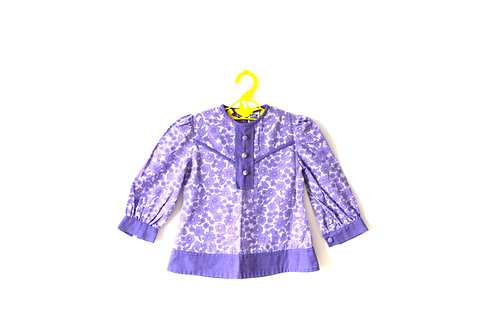 Vintage 1970's Purple Floral Tunic Dress 1-2 Years