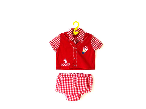 Vintage 1960's Red Gingham Outfit 1-2 Years