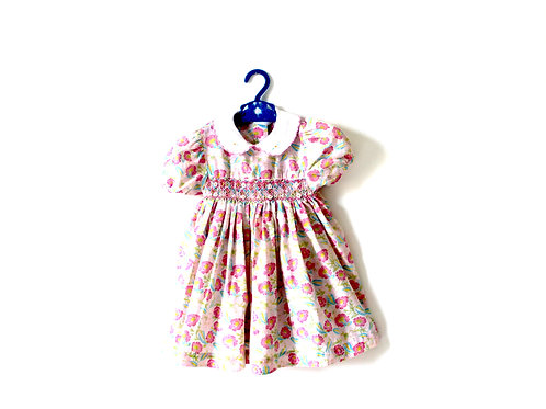 Vintage Girls Pink Floral Summer 60's Dress 3 Yrs