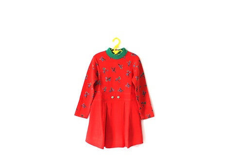 Vintage Bold French Red and Green Dress Flowers 5-6 Years