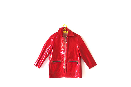 Vintage French 1960's Red Mac Raincoat 6-7 Years