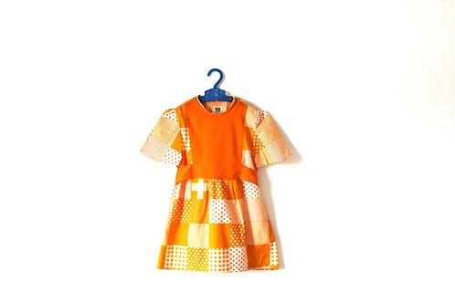 Vintage Orange 1960's Block Spotty Geometric Dress 5-6 Years