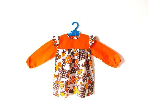 Vintage Orange Flower Gingham Dress 1970's Age 4
