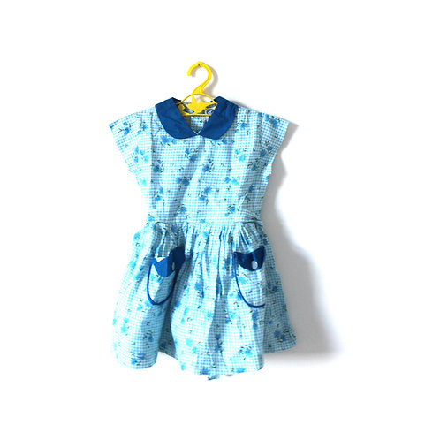 Vintage Blue Floral 1960's Peterpan Collar Girls Dress 4-5 Years
