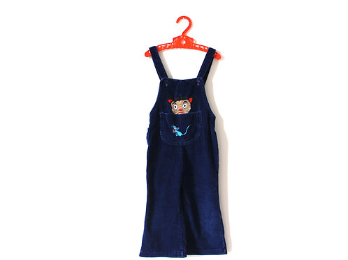 Vintage Cord Cat and Mouse 60's Dungarees 3 Years