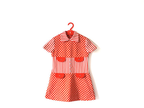 Vintage 1960's Orange Polka Dot Girls Dress Summer Spring