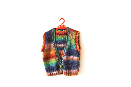 Vintage 1970's Knitted Rainbow Waistcoat Age 5-6