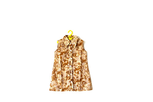 Vintage 1960's Brown Paisley Dress with Collar 5-6 Years