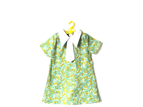 Vintage 1960's Floral Green Blue Delicate Dress 5-6 Years