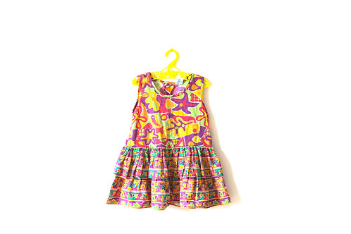 Vintage 80's Bold Patterned Pastel Dress 4 Years