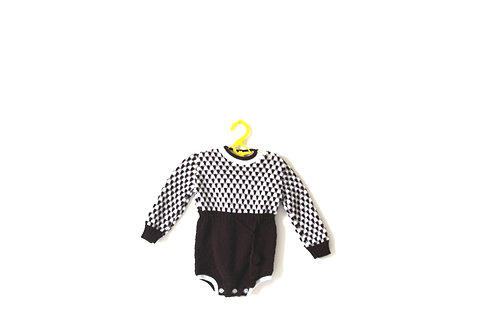 Vintage 1970's Knitted Patterned Baby Romper Brown 3 Months