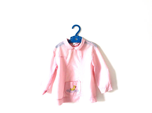 Vintage French Pink Striped 1960's Girls Chick Blouse Kitsch