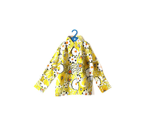 Vintage 1960's Yellow Floral Spring Summer Light Girls Blouse 6-7 Years