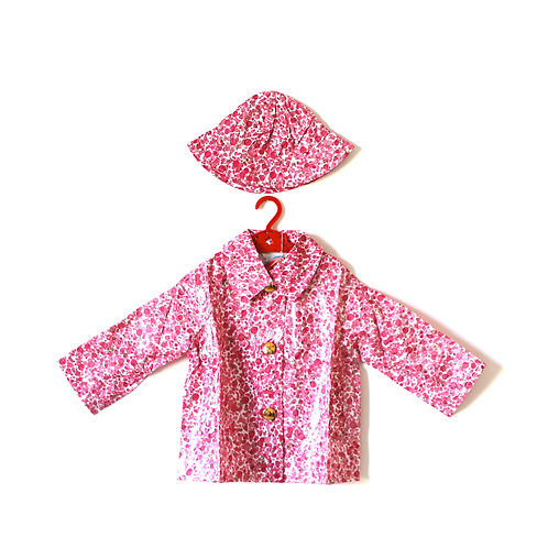 Vintage Pink 1970's Spotty Raincoat with Hat Age 2-3