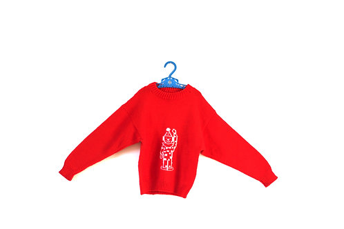 Vintage Red Clown Thin Knitted Jumper Age 6