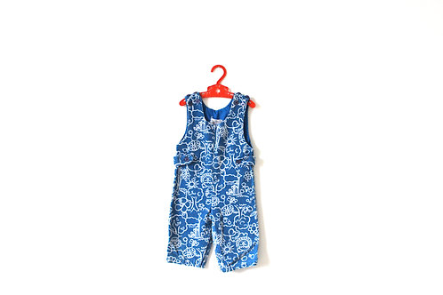 Vintage 60's Blue Cord Animal Dungarees 12-18 M