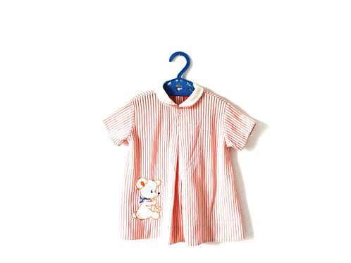 Vintage 1960's Pink Bear PeterPan Blouse 3-4 Yrs