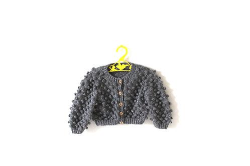 Vintage Knitted Popcorn Glitter Grey Jumper 6 Months