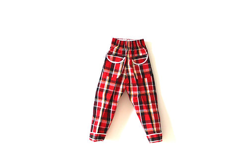Vintage 1960's Checked Red Black Yellow Trousers 2 Years