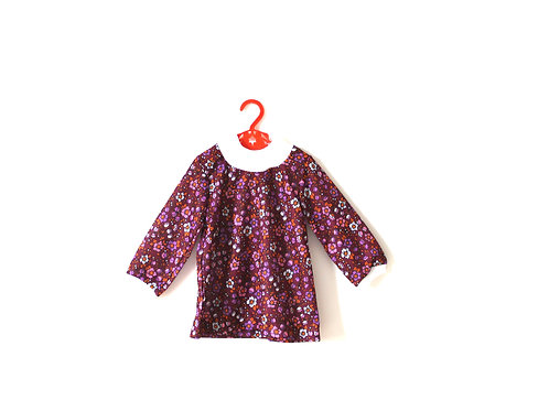 Vintage 1970's Purple Pink Patterned High Neck Dress 2-3 Years