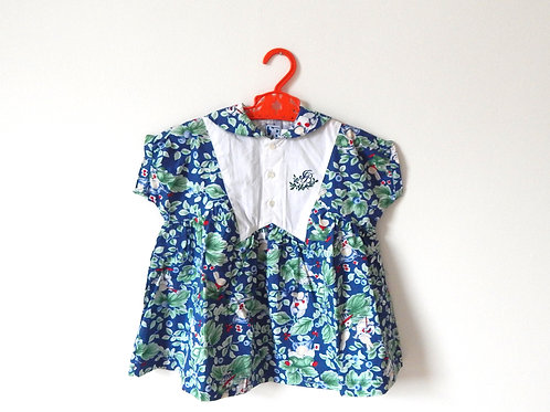 Vintage Girls Bunny Floral Summer Dress 9-12 Month