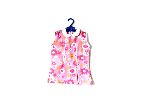 'Little Daisy' Adorable Vintage 1960's Pink Daisy Dress with Peterpan Collar